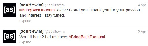 ToonamiTweet001 Adult Swims Silent Treament Toward Toonami