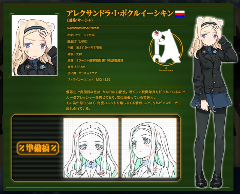 Brave Witches - Character Design Alexandra Pokryshkin 001 - 20160513