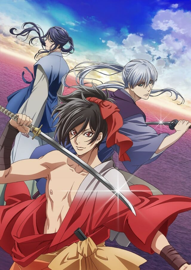 Kochoki: Wakaki Nobunaga Anime visual - The image features Nobunaga posing with his blade, as Takigawa Kazumasu and Oda Nobuyuki characters pose behind him.