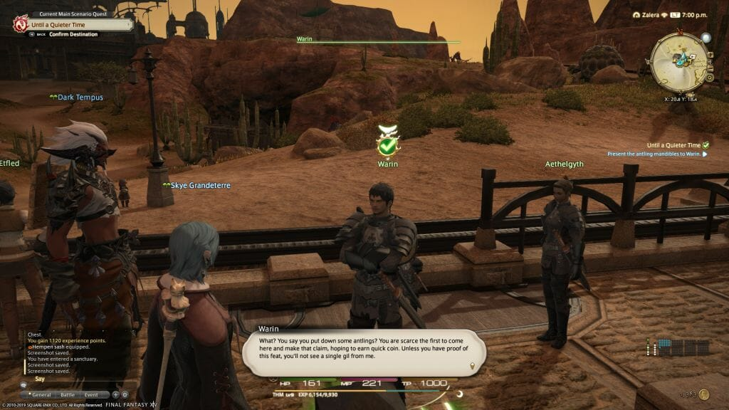 Skye Grandeterre, a Duskwight Elezen, reports a completed quest to Warin in Final Fantasy XIV