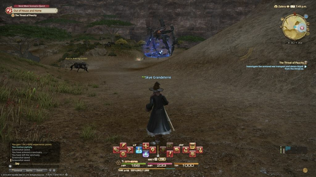 Skye Graneterre, a Duskwight Elezen, spies a FATE battle from the distance in Final Fantasy XIV
