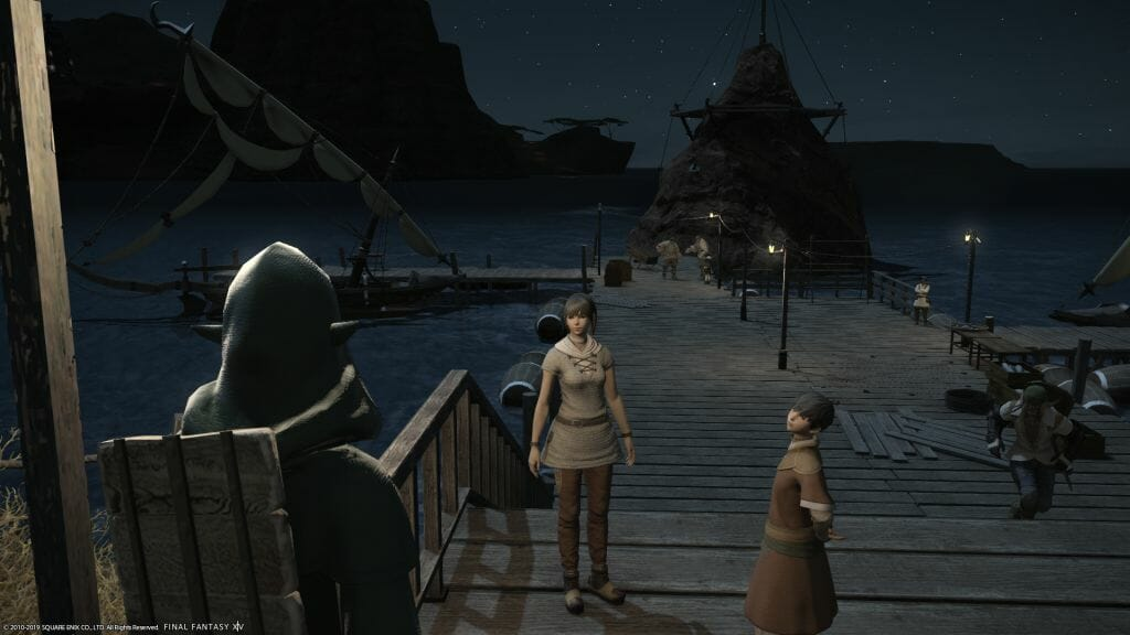 Skye Graneterre, a Duskwight Elezen, speaks with Merilda at Crescent Cove in Final Fantasy XIV