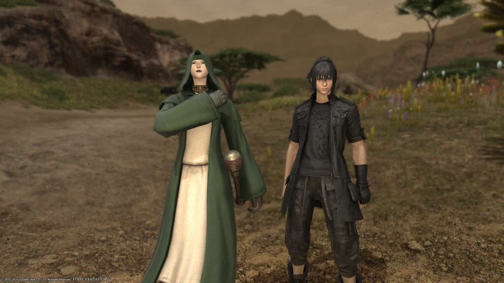 Skye Graneterre, a Duskwight Elezen, poses with Prince Noctis in Final Fantasy XIV