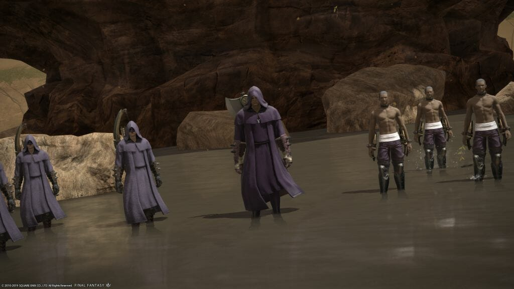 A band of brigand stands menacingly in Final Fantasy XIV