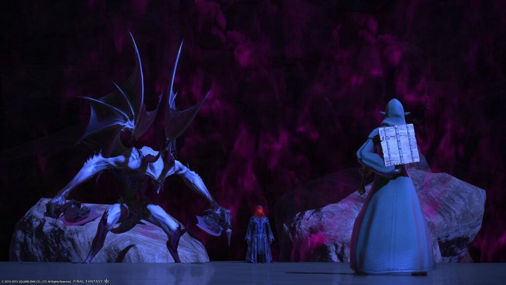 Skye Graneterre, a Duskwight Elezen, battles the Masked Magician and a gargoyle in Final Fantasy XIV