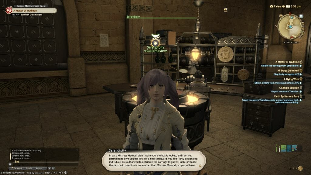 A dialogue screen with Serendipity, head of the Goldsmith's Guild in Final Fantasy XIV