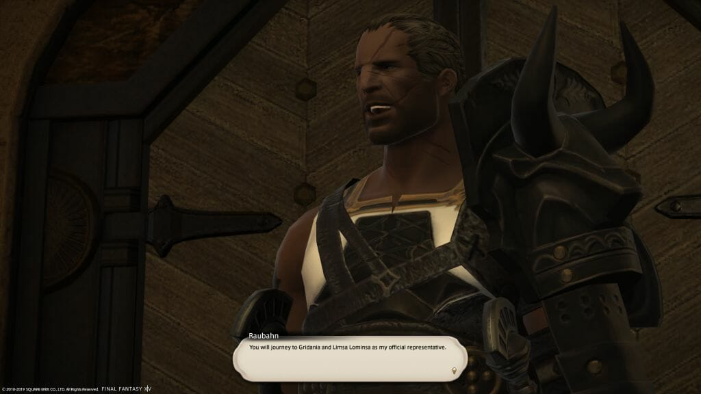 A dialogue screen with Raubahn in Final Fantasy XIV