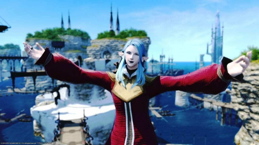 Skye Graneterre, a Duskwight Elezen, poses in Limsa Lominsa in Final Fantasy XIV