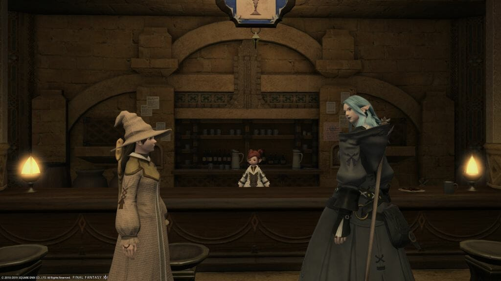 Skye Graneterre, a Duskwight Elezen, meets Edda at The Quicksand in Final Fantasy XIV