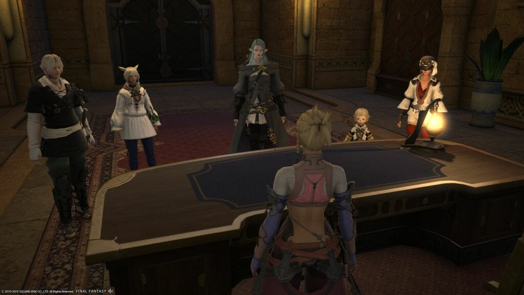 Skye Graneterre, a Duskwight Elezen, meets the Scions of the Seventh Dawn in Final Fantasy XIV