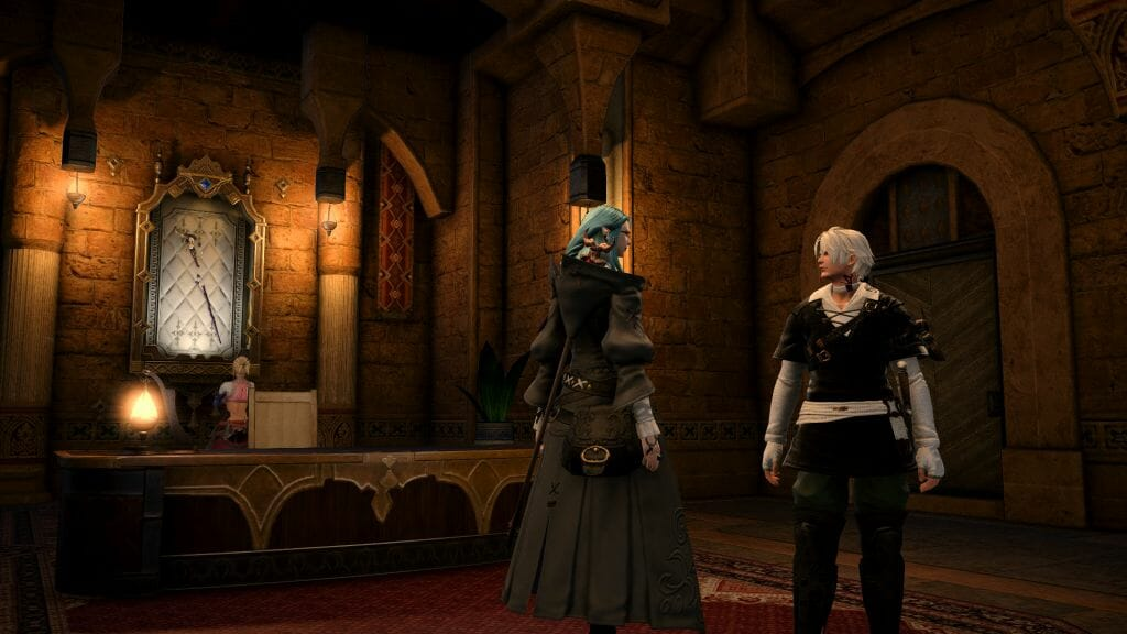 Skye Grandeterre, a Duskwight Elezen, converses with Thancred in Final Fantasy XIV