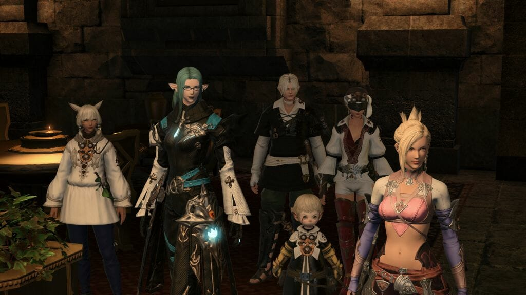 Skye Grandeterre, a Duskwight Elezen, poses the Scions in the Rising Stones in Final Fantasy XIV