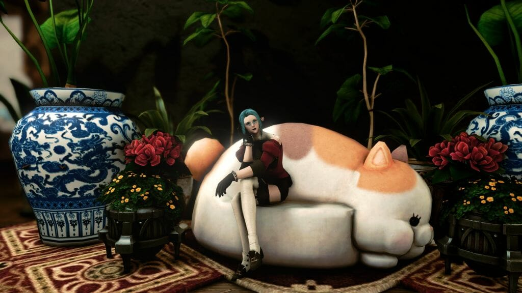 Skye Grandeterre, a Duskwight Elezen, poses at the Gillionway Trade Company's house in Final Fantasy XIV