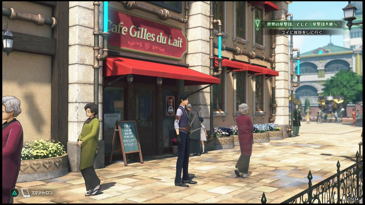 "Sakura Wars 2019 Still - Seijuro Kamiyama stands on a bustling city street. He stands before a cafe with a red awning, and a sign that reads ""Cafe Gilles du Lait."""
