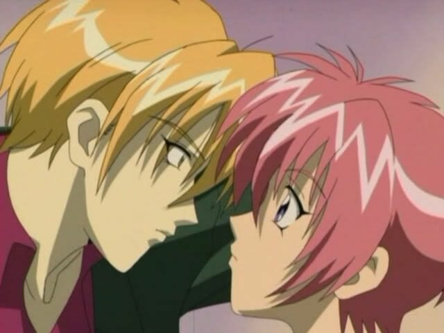 Gravitation anime still - two boys stare into each others' eyes