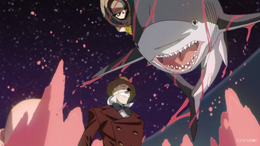 Id: Invaded Episode 13 Still - A grey-haired man with a suit and top hat stands in surprise as water splashes around him. Above, a woman in a brown coat rides a shark down toward the man.
