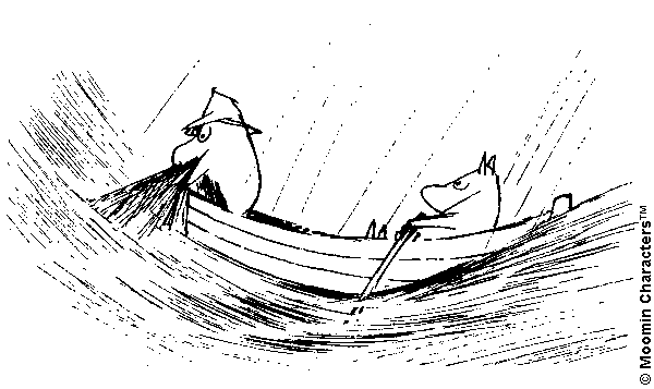 An illustration by Tove Jansson from the novel Moominpappa at Sea (1965).  Moominpappa (left) and Moomintroll (right) are on a boat in the middle of a storm.  Moominpappa is trying to bring fishing nets onto the ship, while Moomintroll is rowing.  It is raining and the waves appear very strong