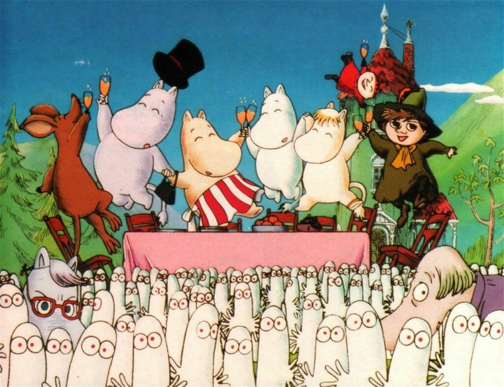 An image from the first opening of Tanoshii Moomin Ikka (1990-91), showing the series' main characters