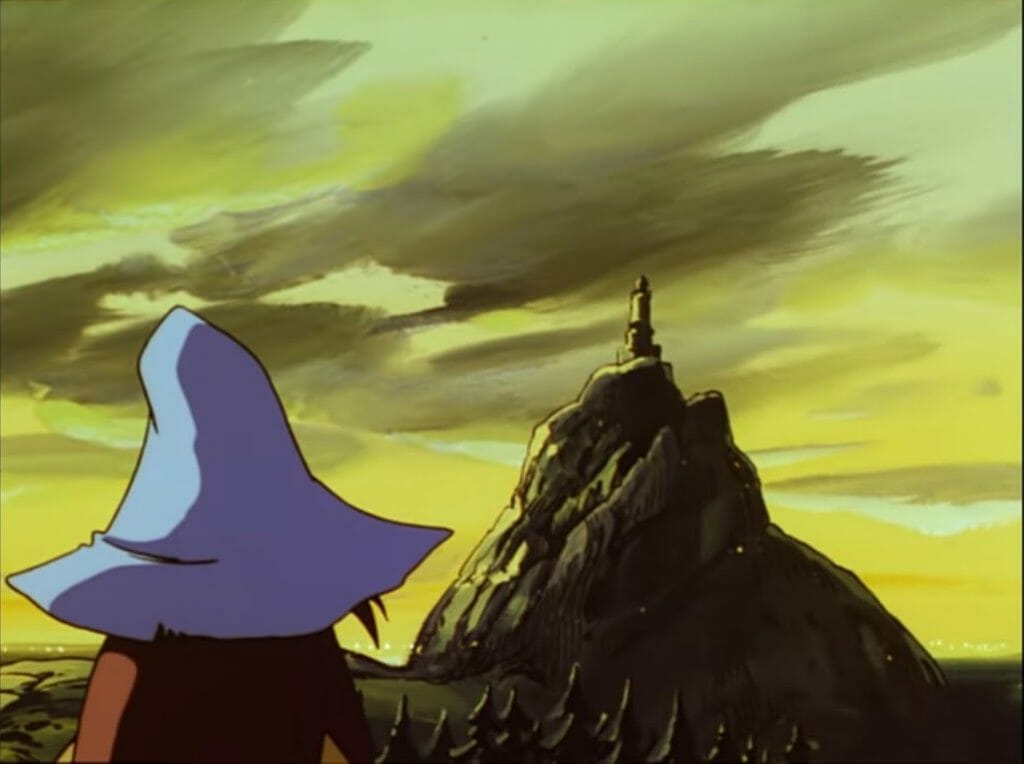 A screenshot from Tanoshii Moomin Ikka.  The fisherman gazes at the lighthouse in the distance.  The yellow and black colours used give off a strong sense of foreboding