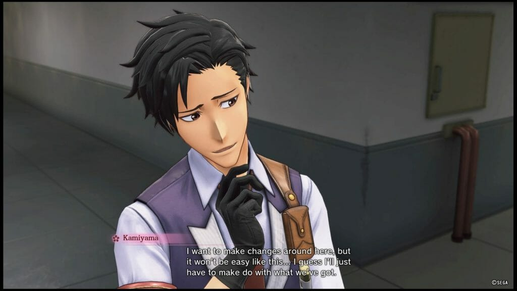 "Sakura Wars 2019 game still - a dark-haired man in a suit stands, posing thoughtfully. Dialogue: ""I want to make changes around here, but it won't be easy like this... I guess I'll just have to make do with what we've got."