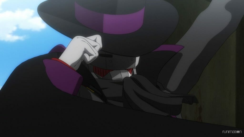 Sakura Wars the Animation Episode 2 Still - A robotic man wearing black robes and a black hat.