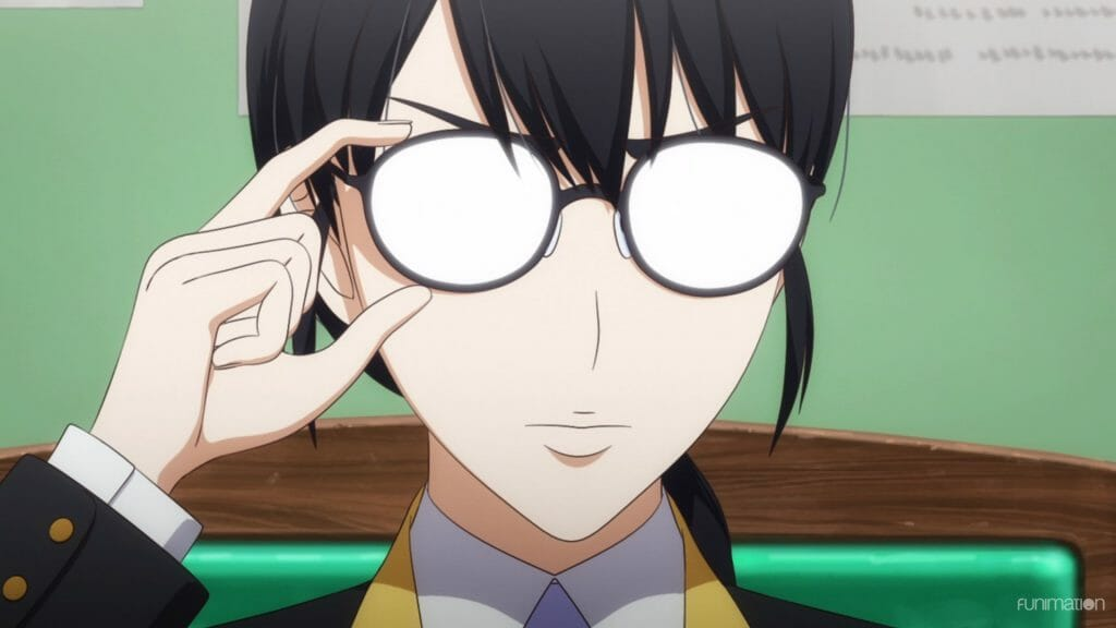 Sakura Wars the Animation Episode 2 Still - A woman with black hair fixes her glasses. Her eyes are obscured by light.