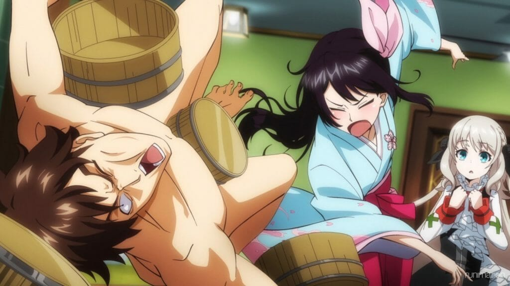 Sakura Wars the Animation Episode 2 Still - A naked man flies toward the camera after being hit with a washtub. A brunette woman in a blue kimono is throwing wash tubs while yelling.