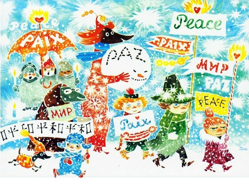 "An illustration, titled ""March for Peace"", that Tove Jasson drew circa 1981 for UNICEF.  It features several of her Moomin characters walking in the snow, holding up signs reading ""Peace"" in five different languages"