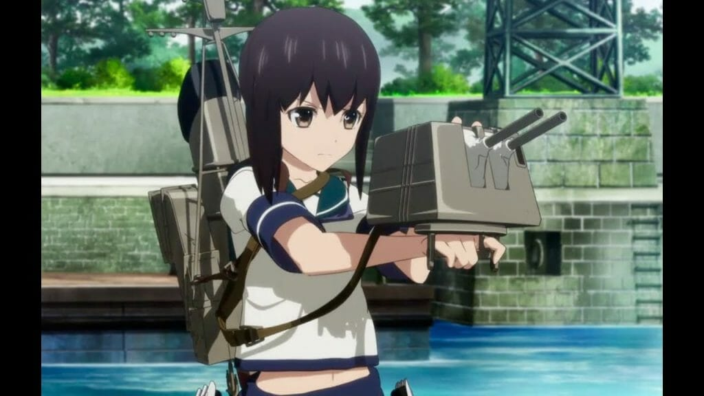 A girl in a school uniform, affixed with various armaments.