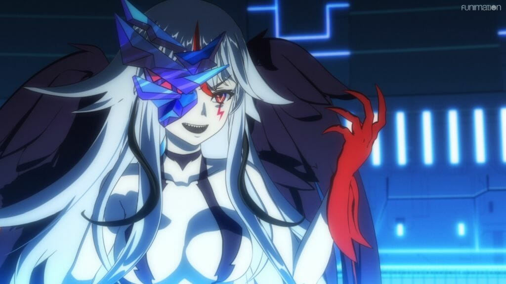 A woman with light hair and red markings flexes her claws. A crystal is growing out of her eye.