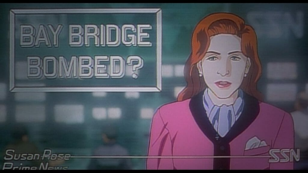 "Still from Patlabor 2, which features a red-haired newscaster staring at the camera. The words ""Bay Bridge Bombed?"" are projected to the left of her."