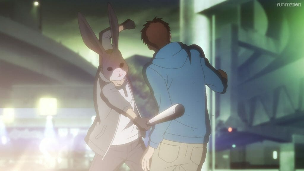 Ikebukuro West Gate Park Episode 6 that depicts a man in blue being attacked by a man wearing a mask and wielding a baseball bat.