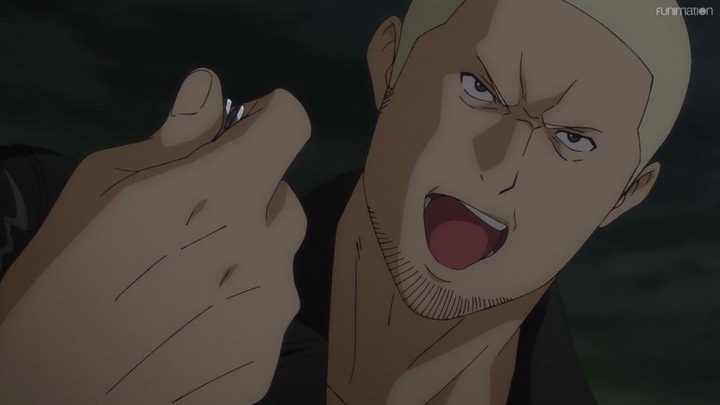 Ikebukuro West Gate Park Episode 6 that depicts a blonde man who shouts angrily as he crushes a coin in his bare hand.