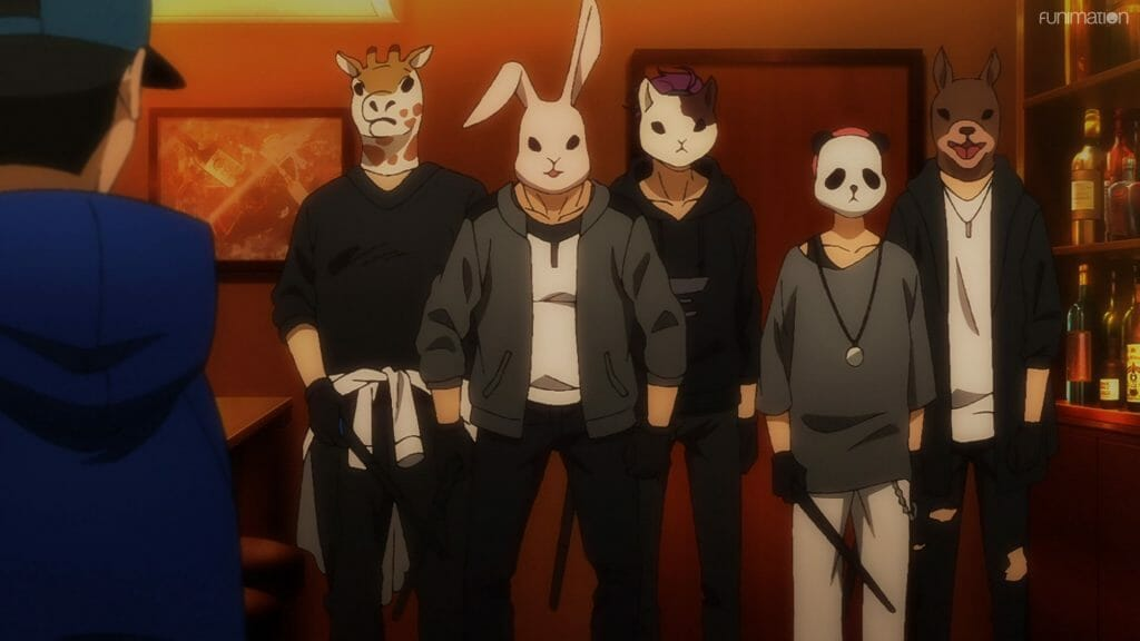 Ikebukuro West Gate Park Episode 6 that depicts five men in animal masks who loom menacingly in a dimly lit room.