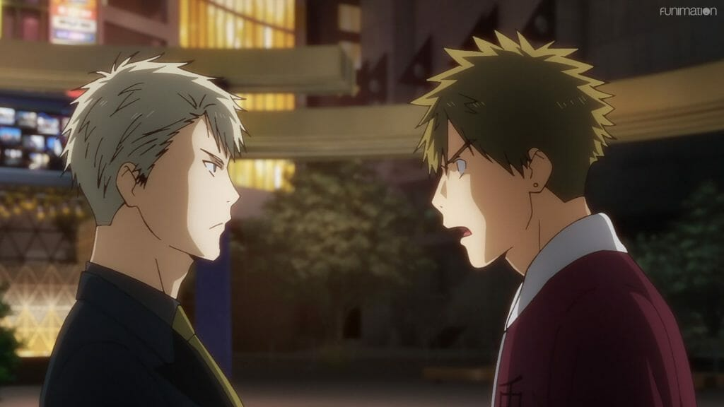 Ikebukuro West Gate Park Episode 6 that depicts a man with brown hair as he yells angrily at a blonde man in a suit.